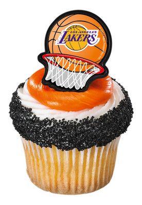 12 LOS ANGELES LAKERS LA party RINGS favors CUPCAKE BASKETBALL nba