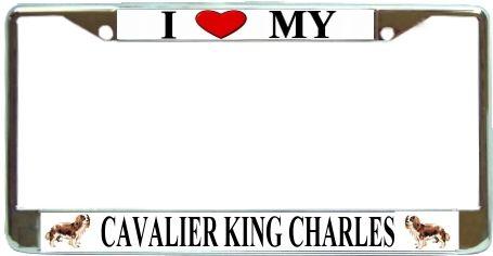 King Charles Love My Dog Photo Chrome Metal License Plate Frame Holder