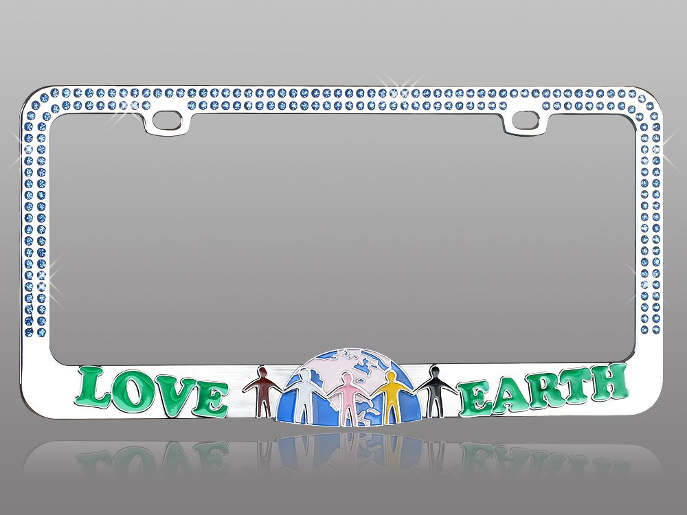 License Plate Frame Go Green Love Earth Diamond