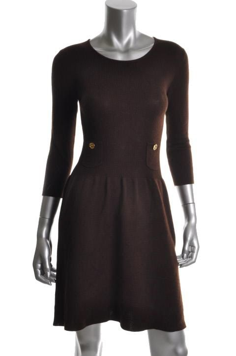 Anne Klein New Brown Ribbed Long Sleeves Crew Neck Pull on