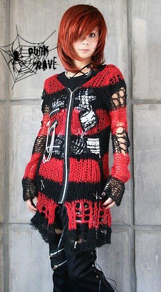 Visual Kei Punk Gothic Kimono Lolita Coat Sweater Emo