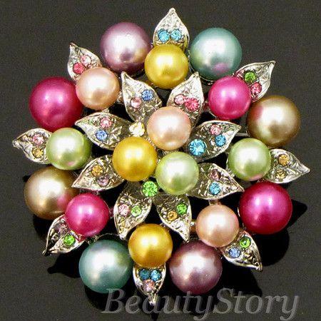 Item  Rhinestone Crystal Flower Brooch Pin Bouquet