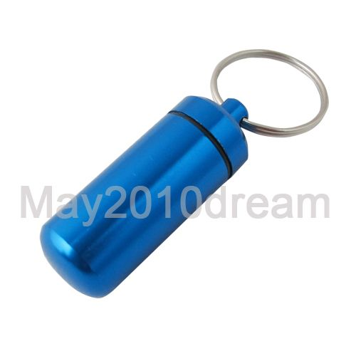 Mini Aluminum Pill Box Case Bottle Holder Container Keychain Key ring