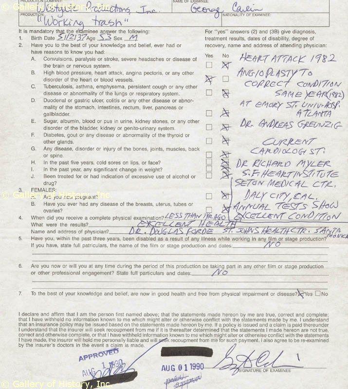 George Carlin Medical Exam Form Signed Circa 1990