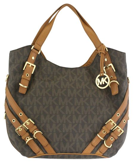 Michael Kors Milo PVC Logo Large Shoulder Tote Brown New