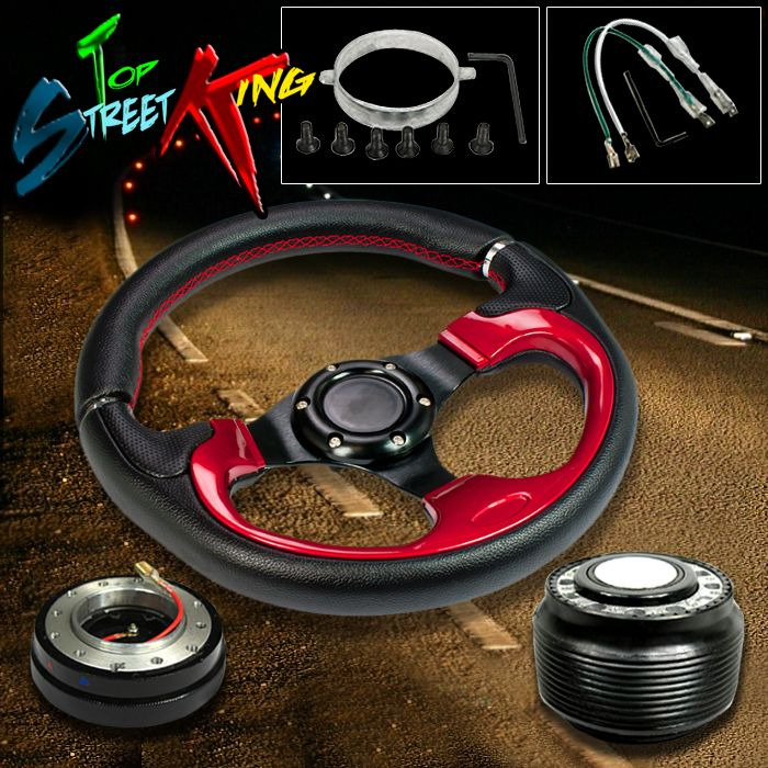 320mm RED LUX RACING STEERING WHEEL+ HUB + SLIM QUICK RELEASE NISSAN