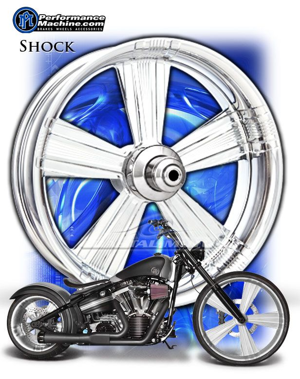 Performance Machine Shock Chrome Motorcycle Wheels Harley Streetglide