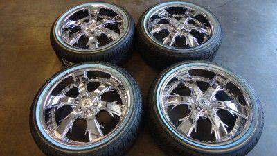 New Lexani LX 704 Chrome 20 Wheels Rims Vogue White Wall Tires 20x8 5