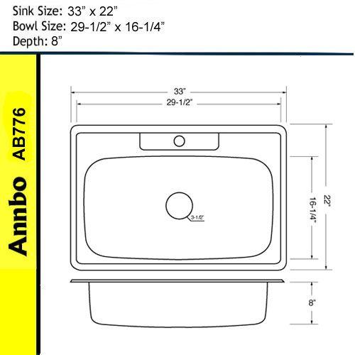 33 Overmount Single Bowl Kitchen Stainless Steel Sink