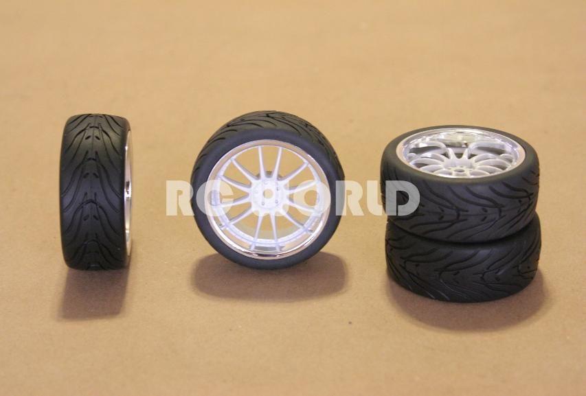 Tires White Chrome Lip Wheels Rims Package Kyosho Tamiya HPI