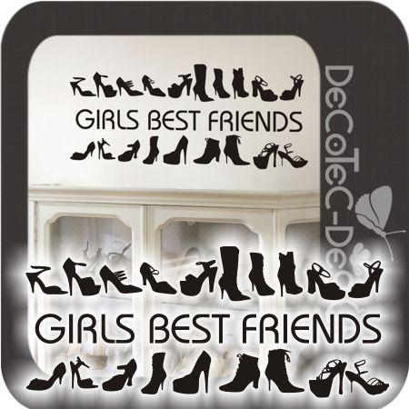 W343 Schuhe Wandtattoo Girls best Friends Flur Küche WC