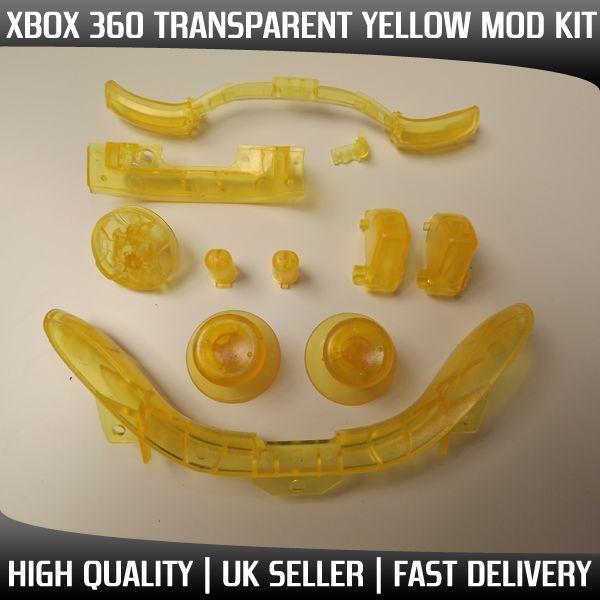 XBOX 360 Transparent Yellow Controller MOD KIT , Sync,Thumbsticks