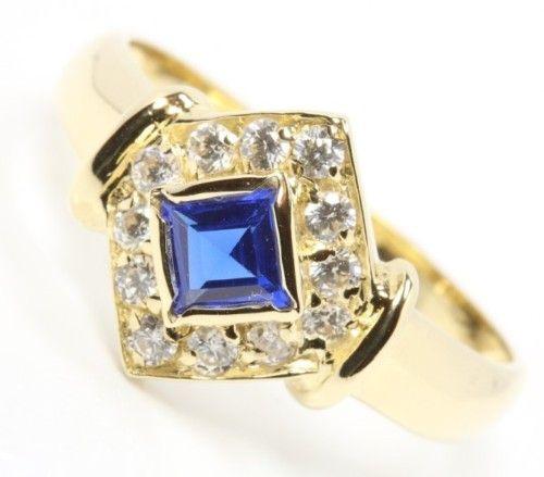 14kt 585 Damen Gold Ring blauer Zierstein und Zirkonia Schmuck