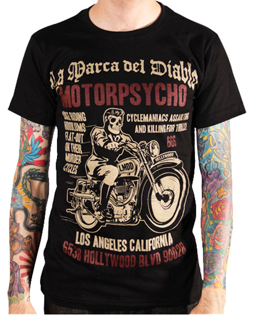 [MOTORPSYCHO] T SHIRT ROCKABILLY HOT ROD BIKER MOTO ROCK 666