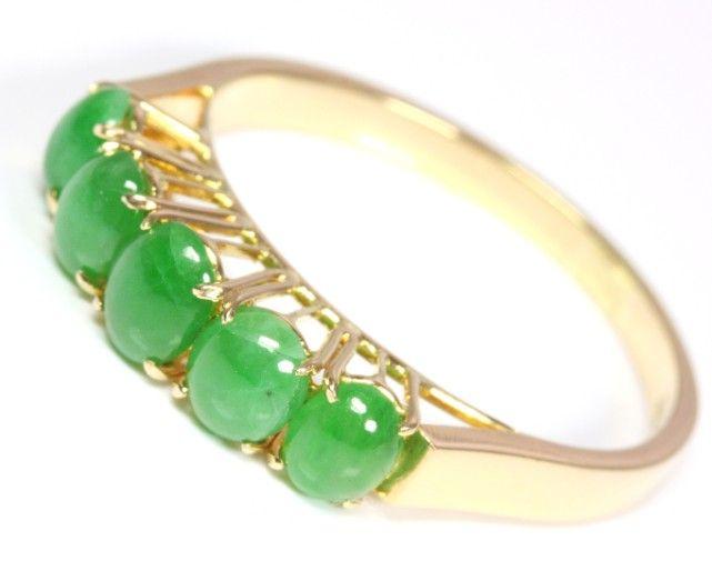 14kt 14k 14 kt 585 Jadering Goldring Jade Gold Ring Gelbgold Damen