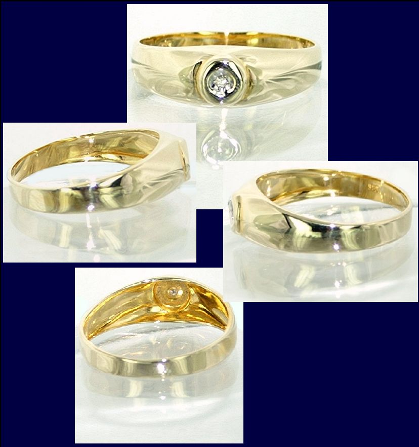 Solitär Diamantring 333 / 8 kt Gold Ring Diamant Brillant Gr. 50